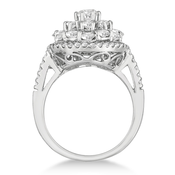 Diamond Flower Cluster Right-Hand Cocktail Ring 14k White Gold (2.60ct)