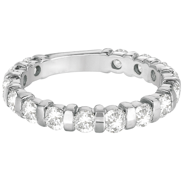 Bar-Set Diamond Ring Anniversary Band 14k White Gold (1.55ct)