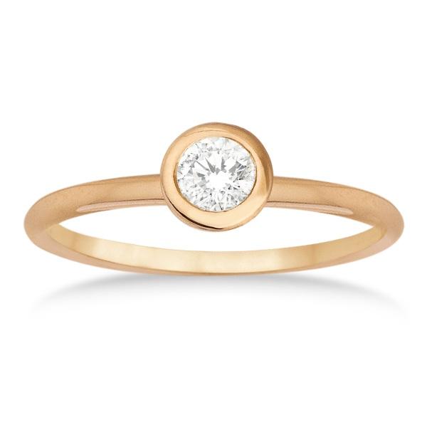 Bezel-Set Solitaire Diamond Ring in 14k Rose Gold (0.50ct)