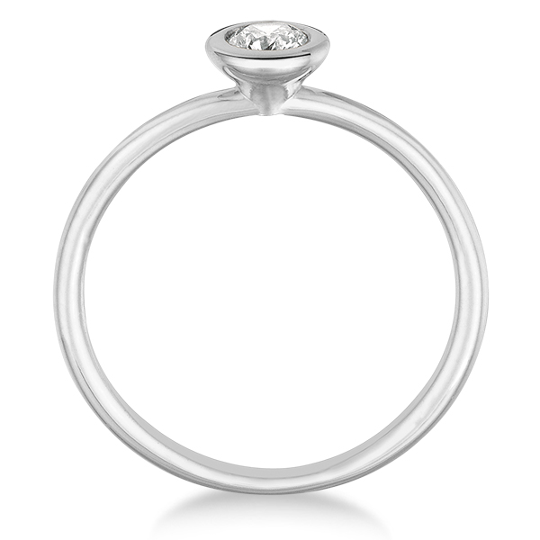 Bezel-Set Solitaire Diamond Ring in 14k White Gold (0.50ct)