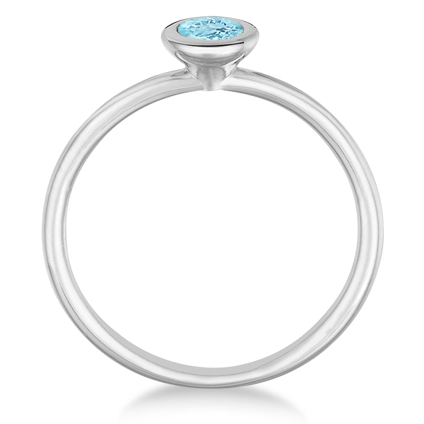Aquamarine Bezel-Set Solitaire Ring in 14k White Gold (0.65ct)