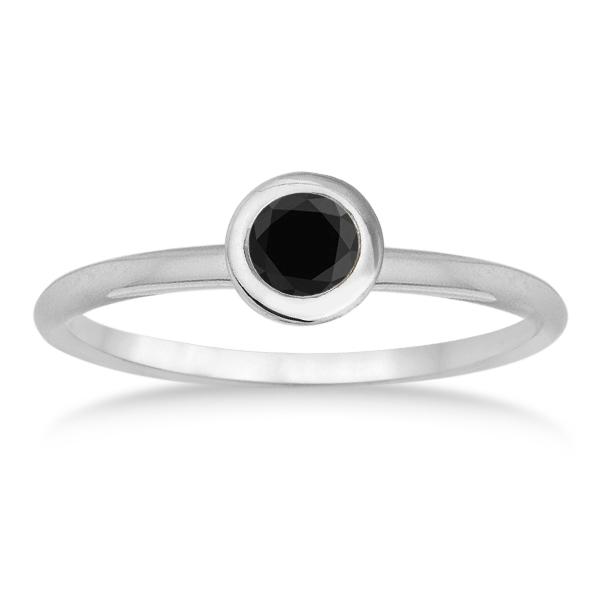 Black Diamond Bezel-Set Solitaire Ring in 14k White Gold (0.50ct)