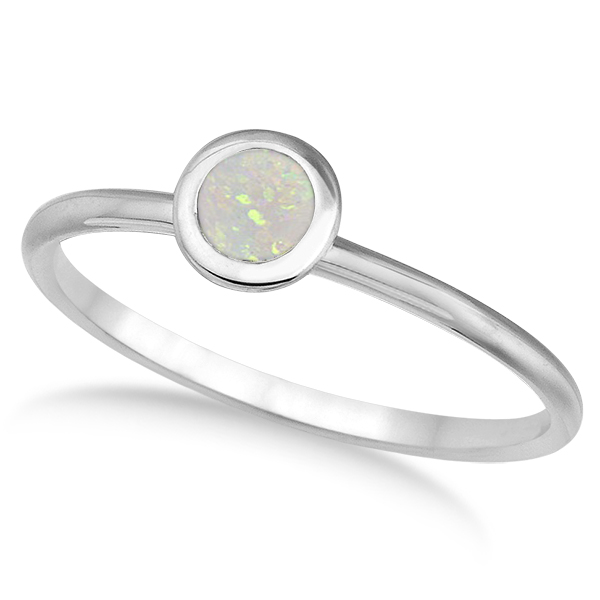 Opal Bezel-Set Solitaire Ring in 14k White Gold (0.65ct)