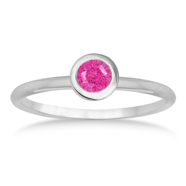 Pink Sapphire Bezel-Set Solitaire Ring in 14k White Gold (0.50ct)