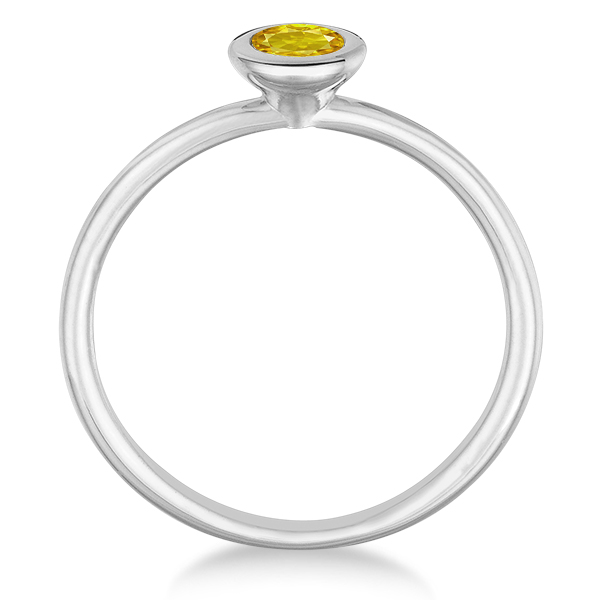 Yellow Sapphire Bezel-Set Solitaire Ring in 14k White Gold (0.65ct)