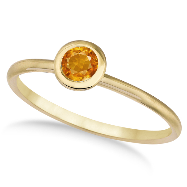 Citrine Bezel-Set Solitaire Ring in 14k Yellow Gold (0.65ct)