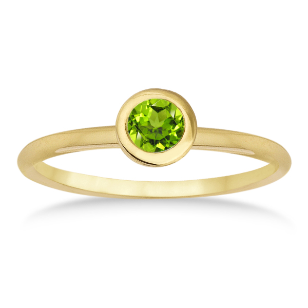 Peridot Bezel-Set Solitaire Ring in 14k Yellow Gold (0.65ct)