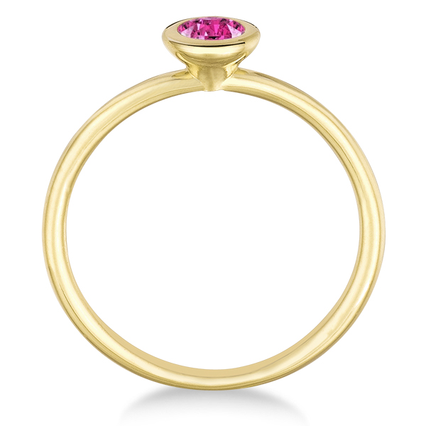 Pink Sapphire Bezel-Set Solitaire Ring in 14k Yellow Gold (0.50ct)