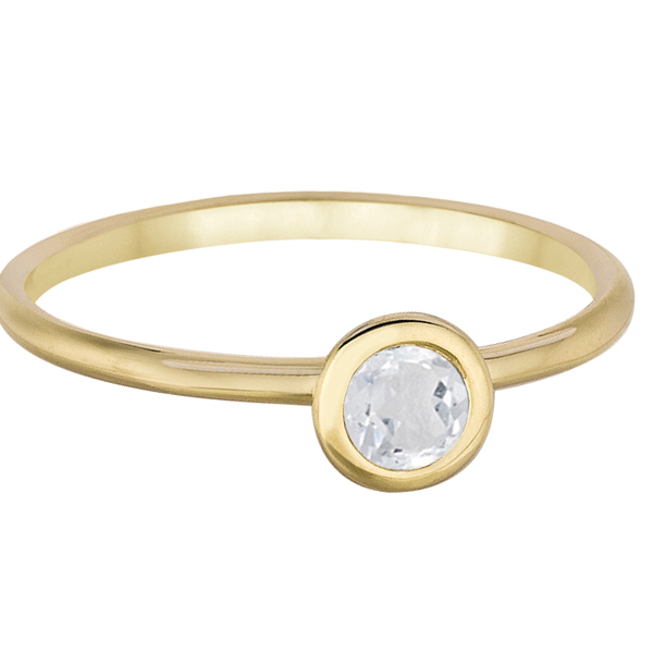 Bezel-Set Solitaire Style White Topaz Ring 14k Yellow Gold (0.50ct)