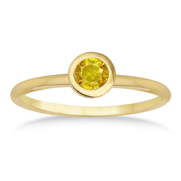 Yellow Sapphire Bezel-Set Solitaire Ring in 14k Yellow Gold (0.65ct)