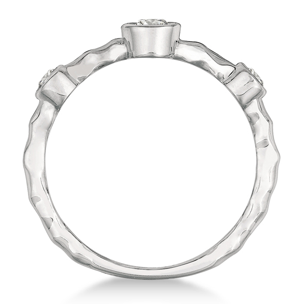 Wavy Band Bezel Set Diamond Right-Hand Ring 14k White Gold (0.25ct)