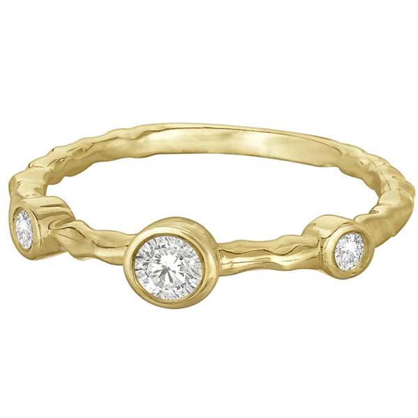 Wavy Band Bezel Set Diamond Right-Hand Ring 14k Yellow Gold (0.25ct)