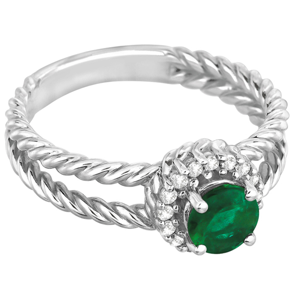 Round Cut Emerald & Diamond Split Shank Ring 14k White Gold (0.65ct)