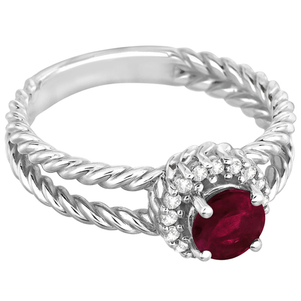 Round Cut Ruby & Diamond Split Shank Ring 14k White Gold (1.00ct)