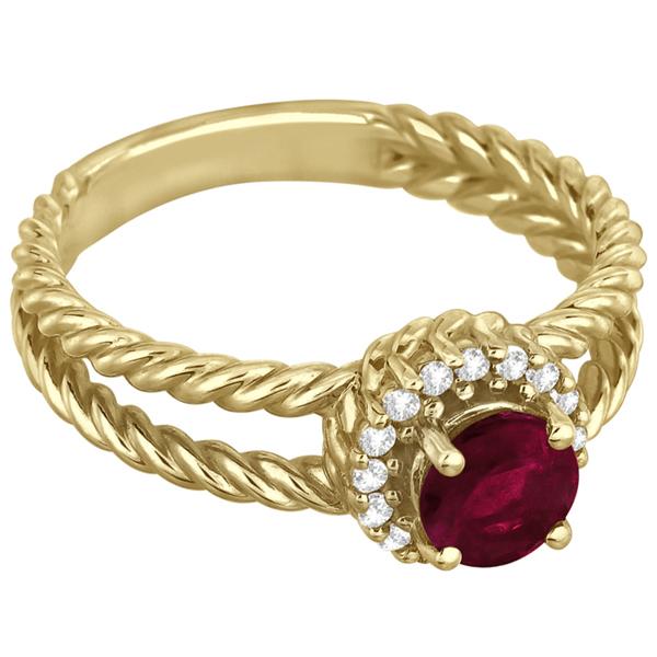 Round Cut Ruby & Diamond Split Shank Ring 14k Yellow Gold (1.00ct)