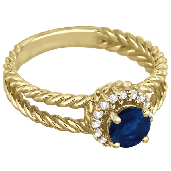 Round Cut Sapphire & Diamond Split Shank Ring 14k Yellow Gold (0.95ct)
