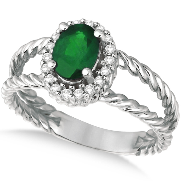 Oval Cut Emerald & Diamond Split Shank Ring 14k White Gold (0.95ct)