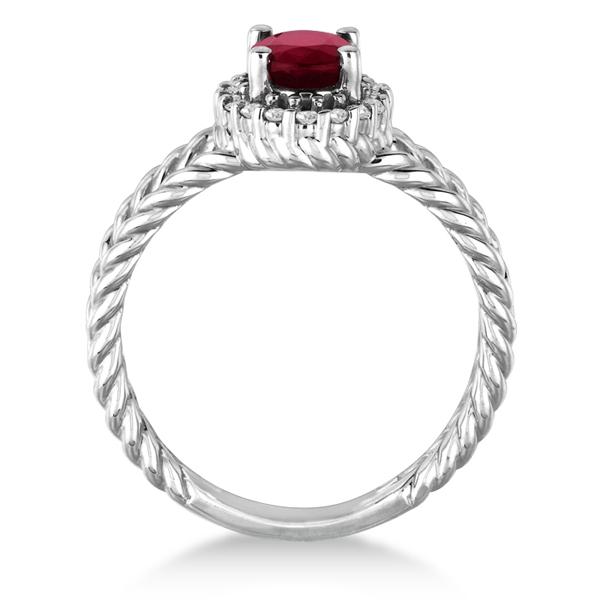 Oval Cut Ruby & Diamond Split Shank Ring 14k White Gold (1.10ct)