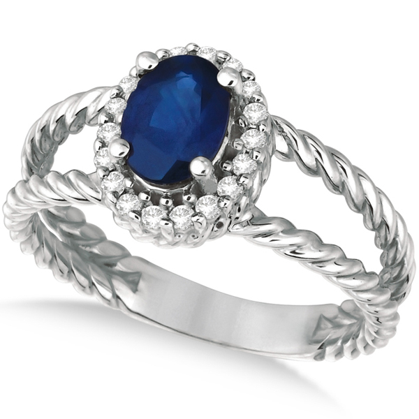 Oval Cut Sapphire & Diamond Split Shank Ring 14k White Gold (1.40ct)