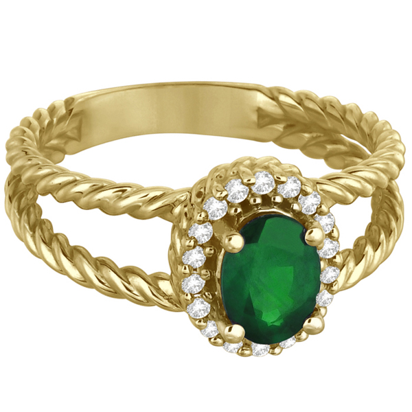 Oval Cut Emerald & Diamond Split Shank Ring 14k Yellow Gold (0.95ct)