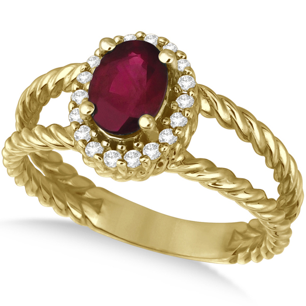 Oval Cut Ruby & Diamond Split Shank Ring 14k Yellow Gold (1.10ct)