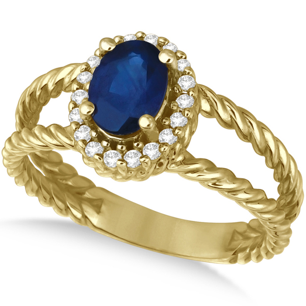 Oval Cut Sapphire & Diamond Split Shank Ring 14k Yellow Gold (1.40ct)
