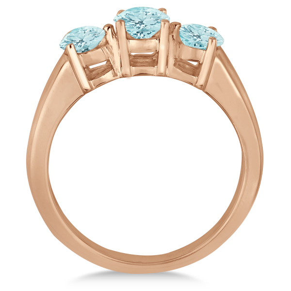 Three Stone Round Aquamarine Gemstone Ring in 14k Rose Gold 1.50ct