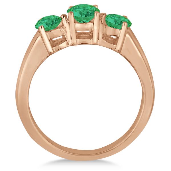 Three Stone Round Emerald Gemstone Ring in 14k Rose Gold 1.50ct
