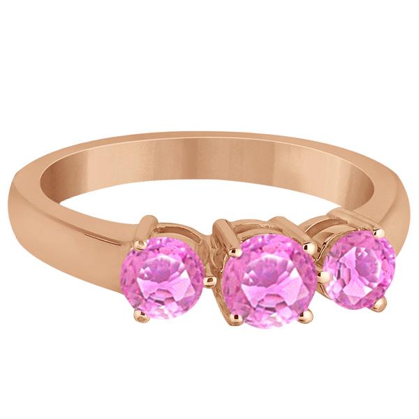 Three Stone Round Pink Sapphire Gemstone Ring 14k Rose Gold 1.50ct