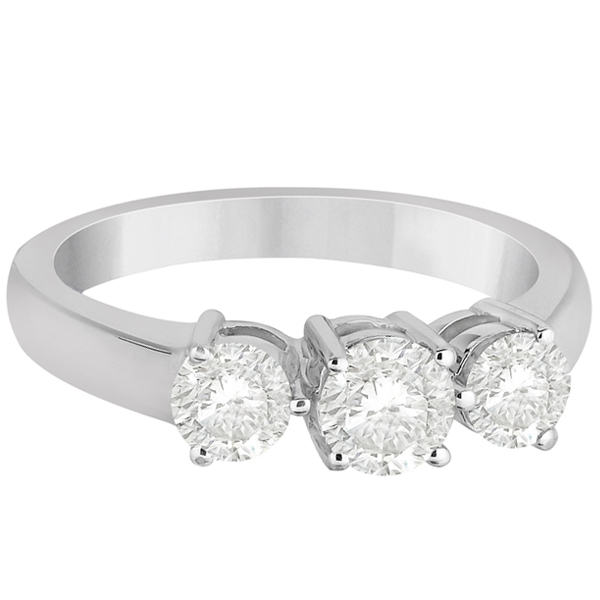 Three Stone Diamond Anniversary Band in 14k White Gold 0.26ct