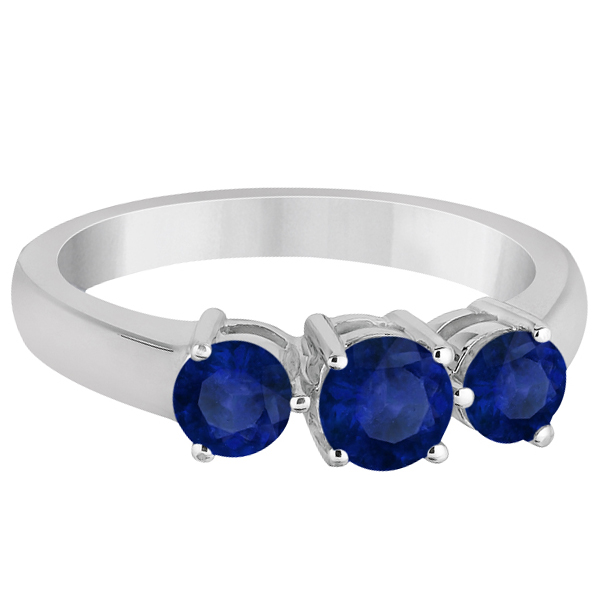 Three Stone Round Blue Sapphire Gemstone Ring 14k White Gold 1.50ct