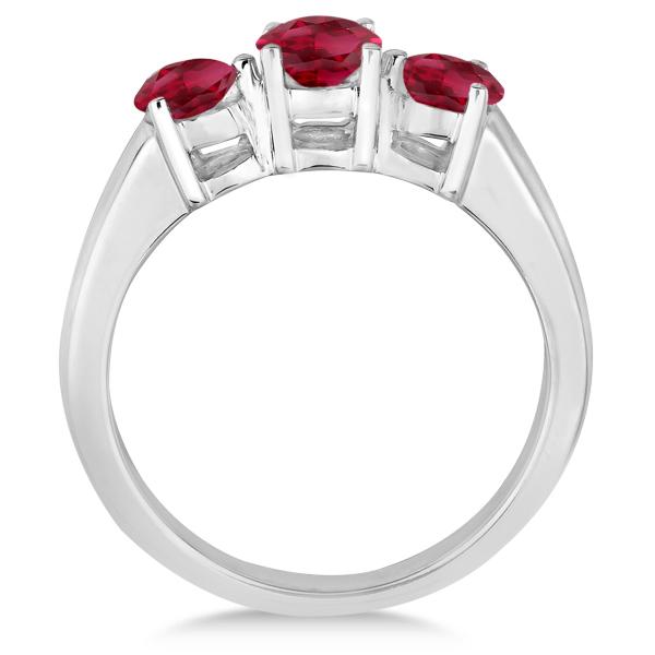 Three Stone Round Ruby Gemstone Ring in 14k White Gold 1.50ct