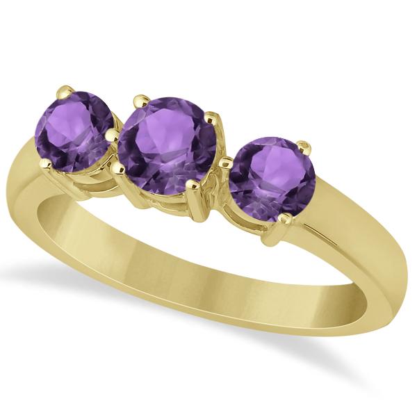 Three Stone Round Amethyst Gemstone Ring in 14k Yellow Gold 1.50ct