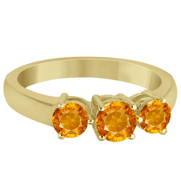 Three Stone Round Citrine Gemstone Ring in 14k Yellow Gold 1.50ct