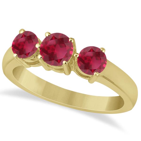 Three Stone Round Ruby Gemstone Ring in 14k Yellow Gold 1.50ct