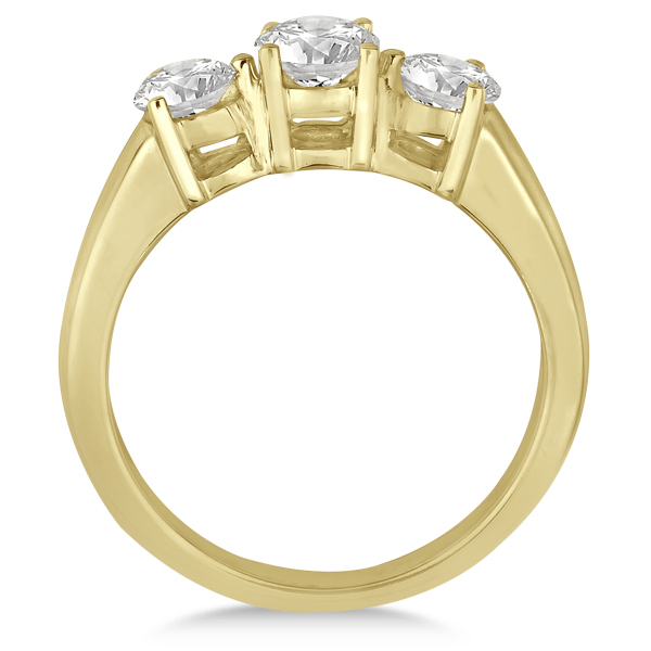Three Stone Diamond Anniversary Band in 14k Yellow Gold 1.01ct
