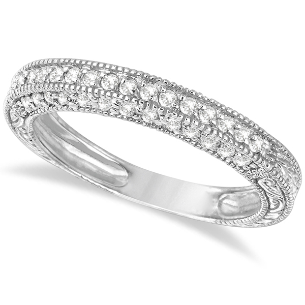 Rim-Accented Diamond Filigree Ring Band 14k White Gold (0.45ct)
