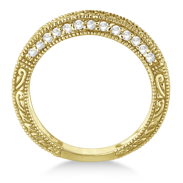 Rim-Accented Diamond Filigree Ring Band 14k Yellow Gold (0.45ct)