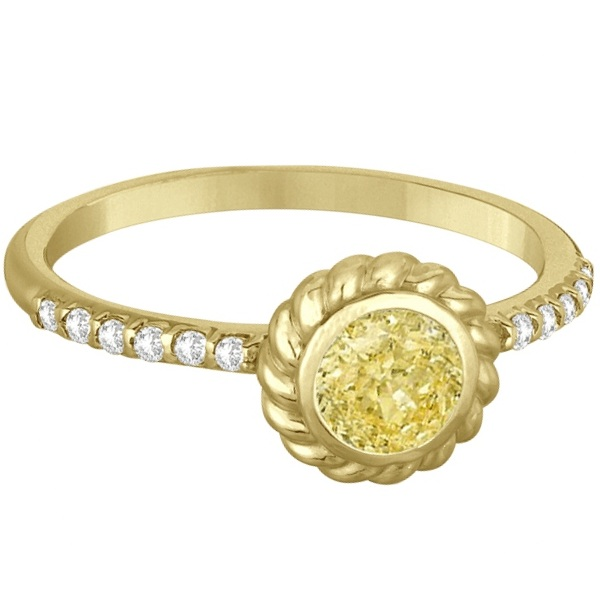 Bezel Set Yellow Canary Diamond Cocktail Ring 14k Yellow Gold (0.61ct)