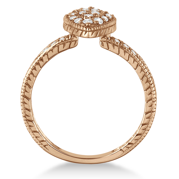 Pave Set Diamond Pear Shape Cocktail Ring 14k Rose Gold (0.50ct)