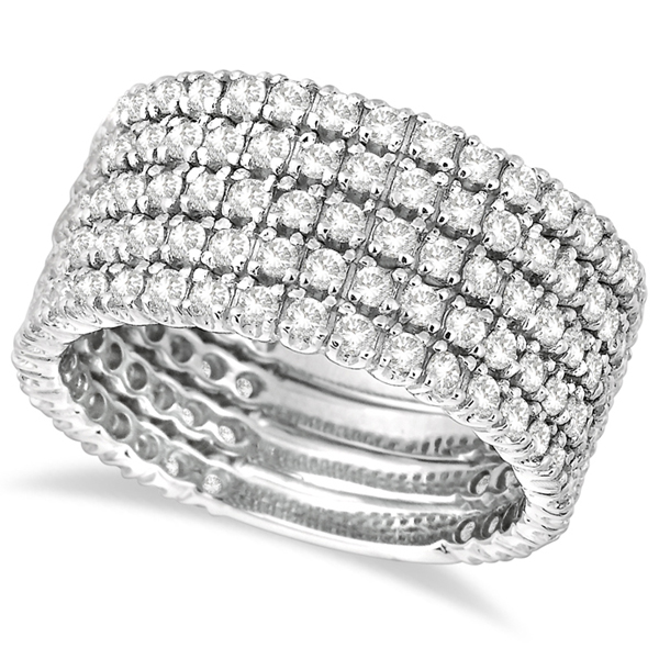Five-Rows Wide Band Diamond Right Hand Ring 14k White Gold (2.50ct)