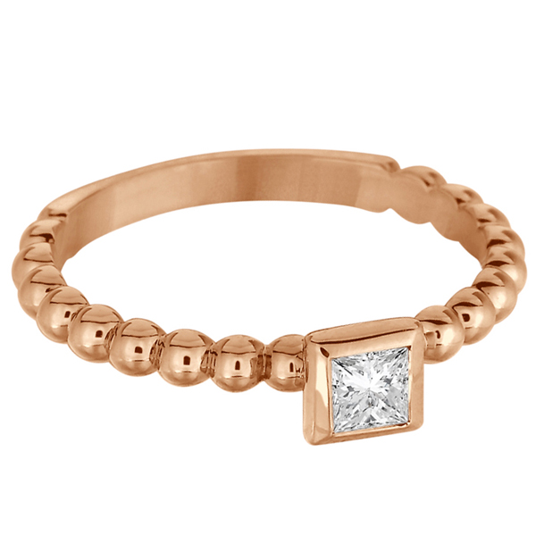 Princess Cut Diamond Beaded Solitaire Ring 14k Rose Gold (0.25ct)