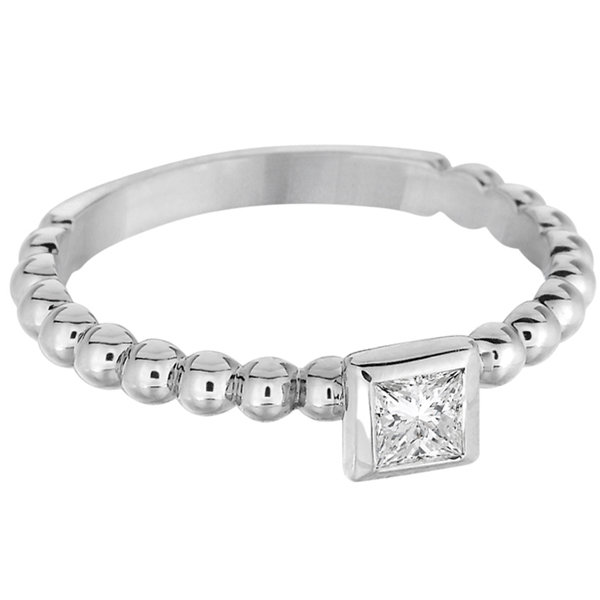Princess Cut Diamond Beaded Solitaire Ring 14k White Gold (0.25ct)