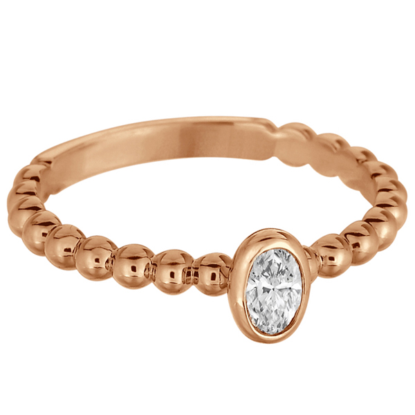 Oval Cut Diamond Beaded Solitaire Ring 14k Rose Gold (0.25ct)