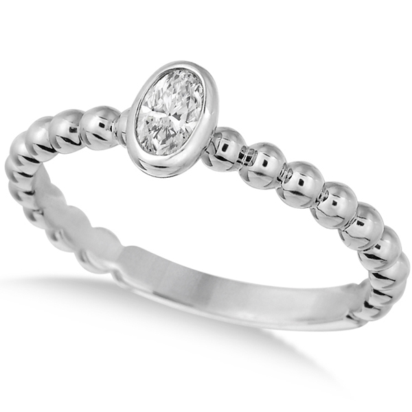 Oval Cut Diamond Beaded Solitaire Ring 14k White Gold (0.25ct)
