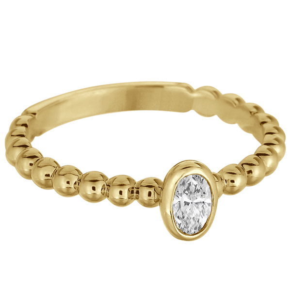 Oval Cut Diamond Beaded Solitaire Ring 14k Yellow Gold (0.25ct)