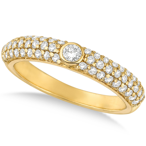 Bezel & Pave Set Diamond Ring Band 14k Yellow Gold (0.75ct)