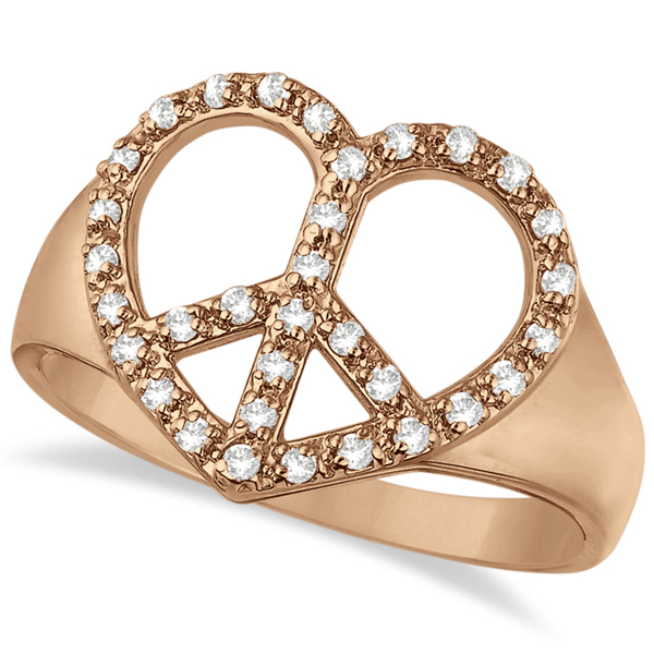 Peace Sign Diamond Heart Right Hand Ring 14k Rose Gold (0.25ct)