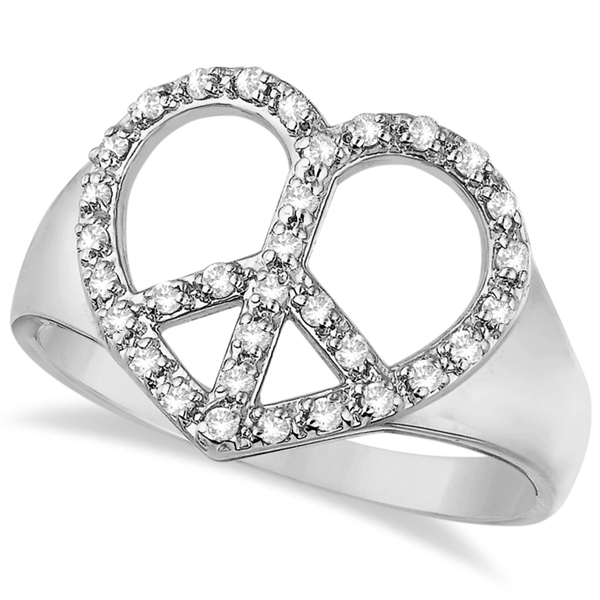 Peace Sign Diamond Heart Right Hand Ring 14k White Gold (0.25ct)