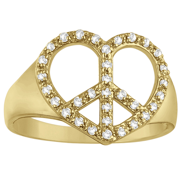 Peace Sign Diamond Heart Right Hand Ring 14k Yellow Gold (0.25ct)